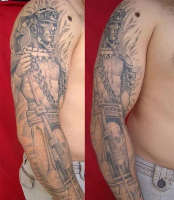 Grey Ink Mayan Warrior Sleeve Tattoo