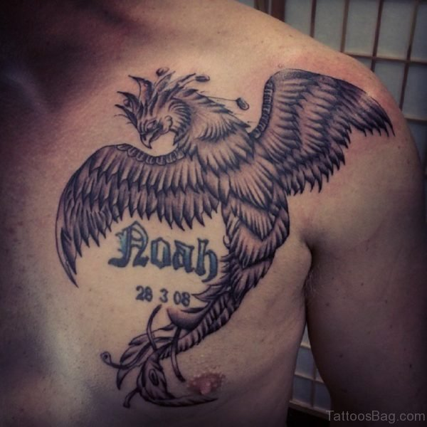 Grey Ink Phoenix Tattoo On Chest