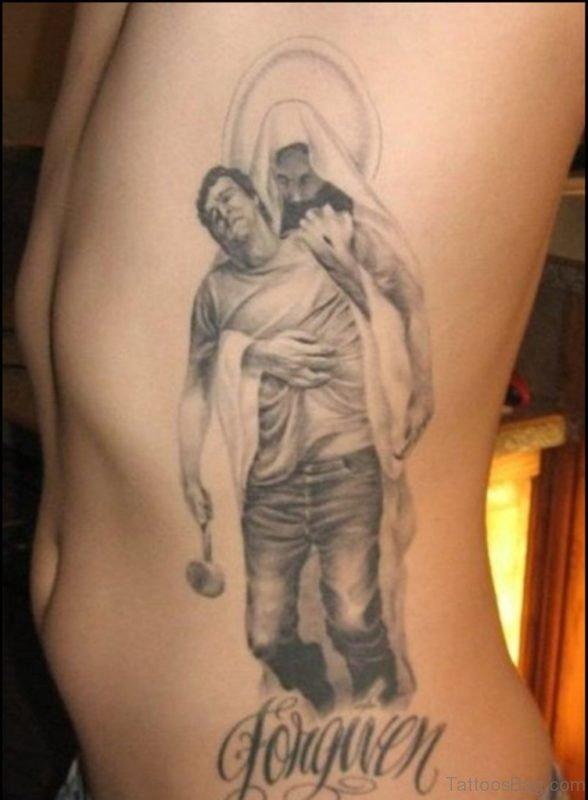 Grey Ink Religious Jesus Tattoo On Rib Side