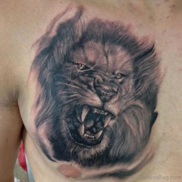 Grey Ink Roaring Lion Head Tattoo On Chest