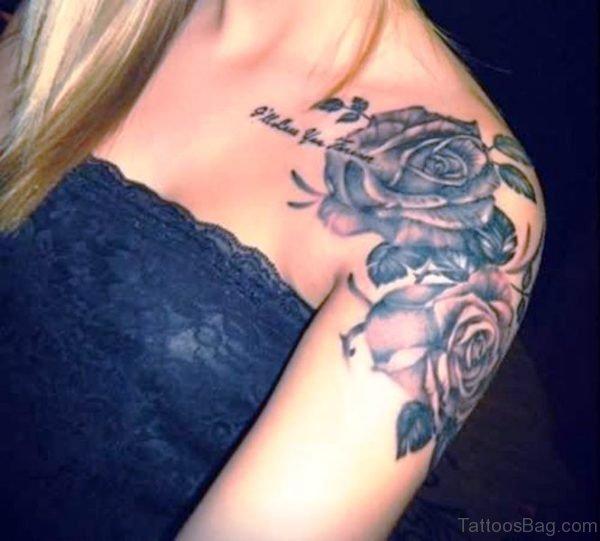 Grey Ink Rose Flower Tattoo