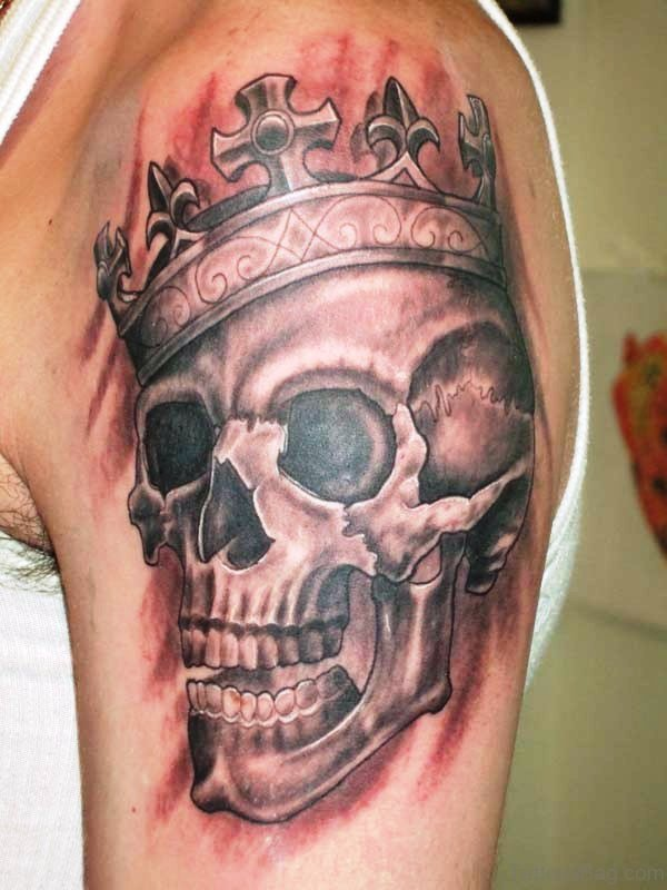 Grey Ink Skull And Crown Tattoo
