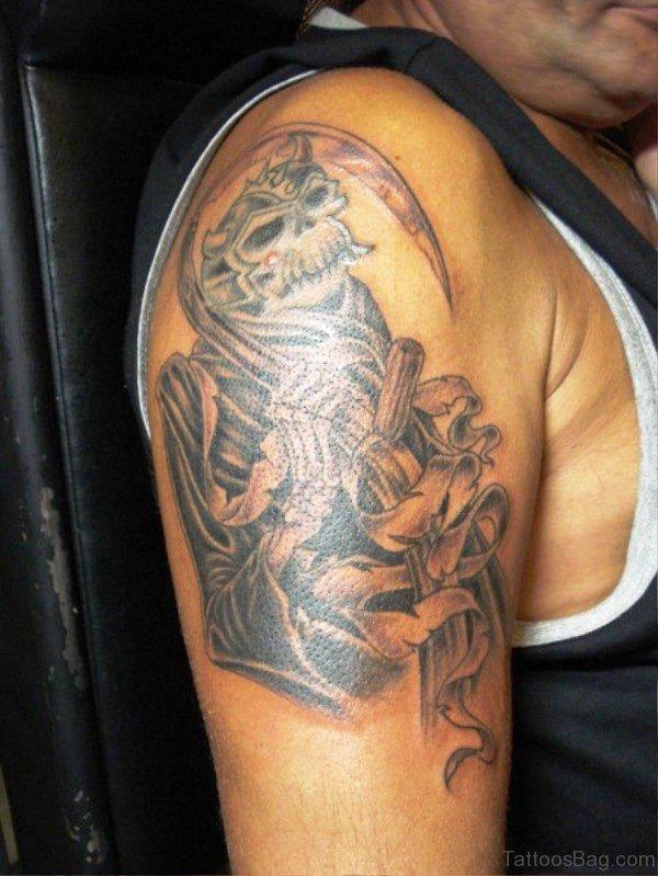 Grey Ink Skull Tattoo