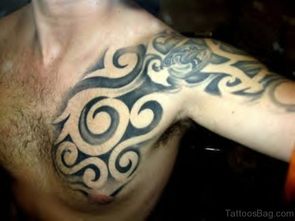 Grey Ink Tribal Tattoo