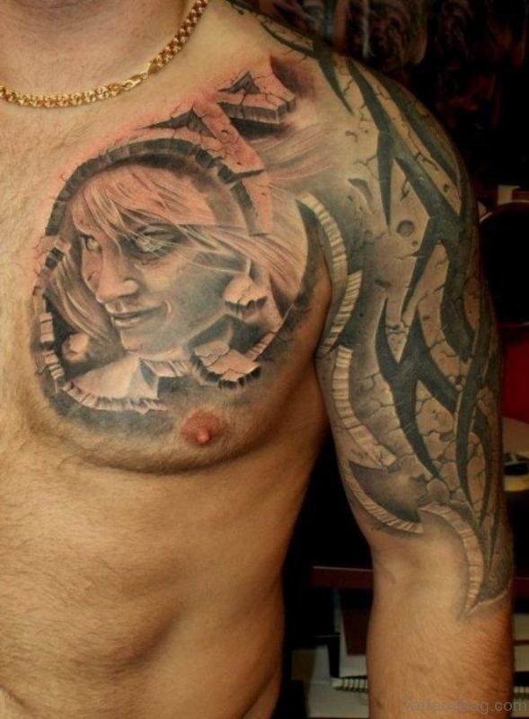 Grey Ink Tribal Tattoo