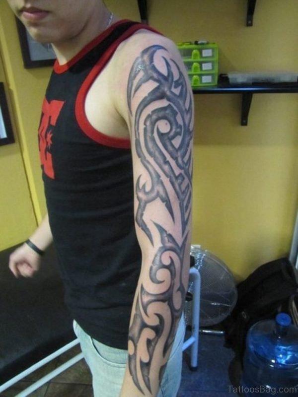 Grey Ink Tribal Tattoo Design