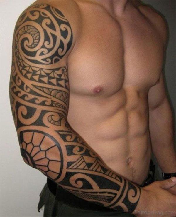 Grey Ink Tribal Tattoo Design On Full Sleeve