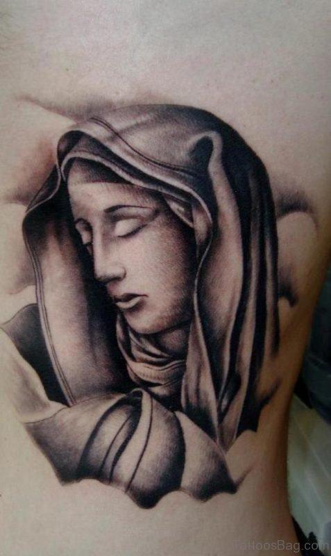 Grey Ink Virgin Mary Tattoo On Rib
