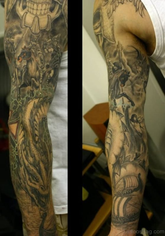 Grey Ink Warrior On Horse With Dragon Tattoo On Full Sleeve