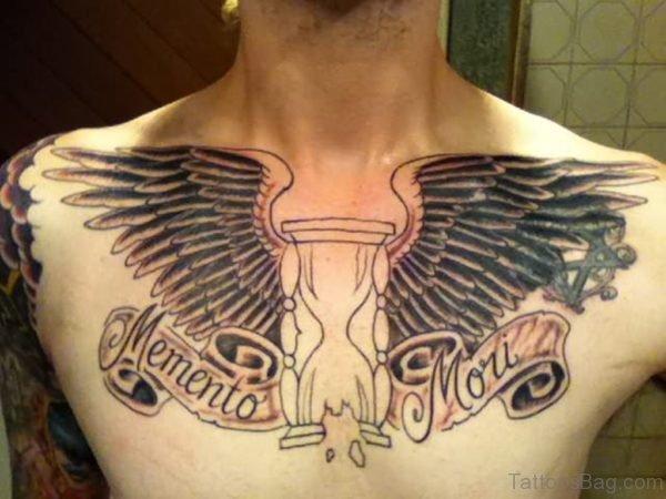 Grey Ink Winged Hourglass Tattoo