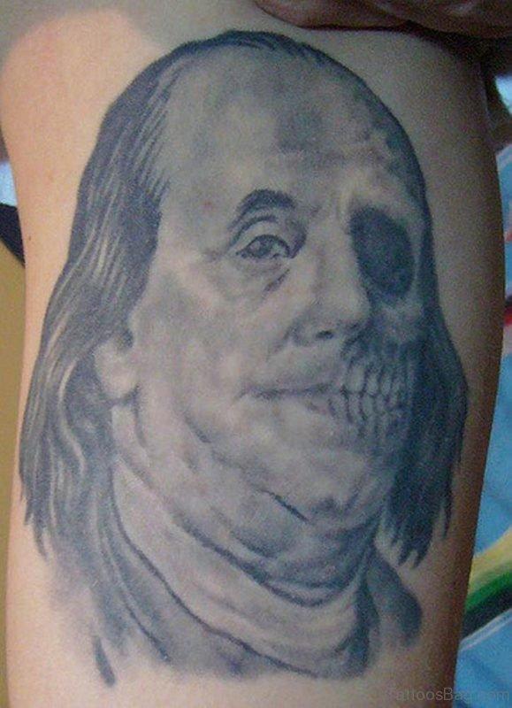 Grey Ink Zombie Tattoo