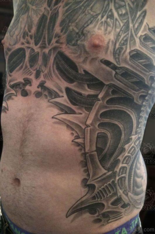 Grey Inked Biomechanical Tattoo