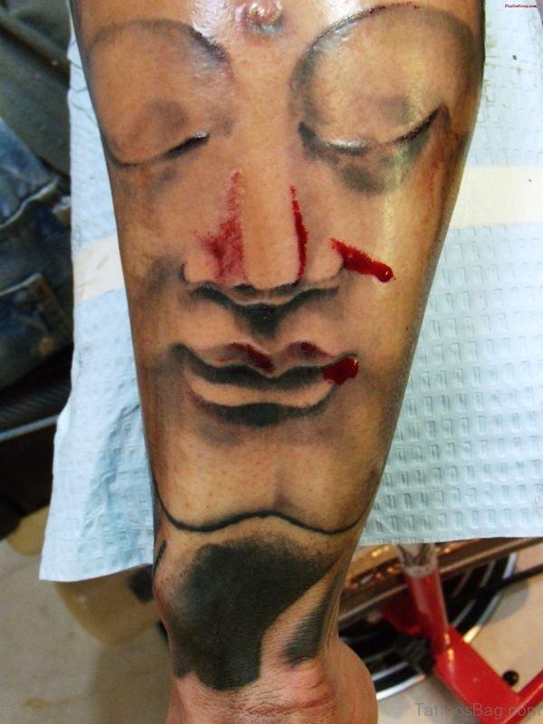 Grey Inked Buddha Tattoo Full Sleeve
