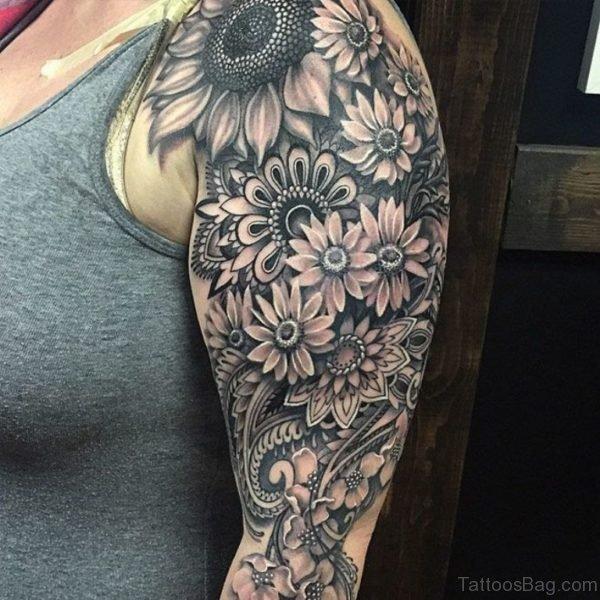 Grey Inked Mandala Tattoo