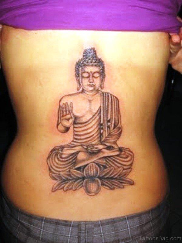 Grey Inked Meditating Buddha Tattoo