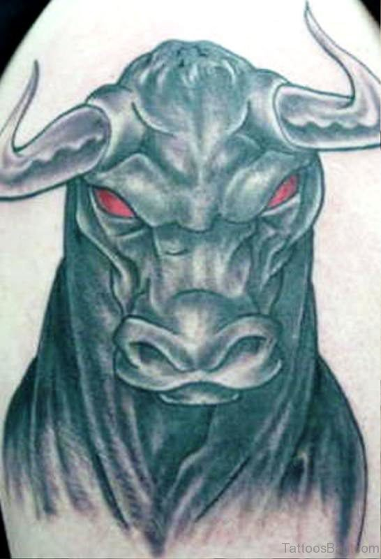 Grey Inked With Red Eyes Bull Tattoo