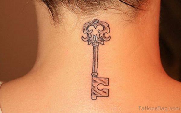 Grey Key Tattoo On Neck