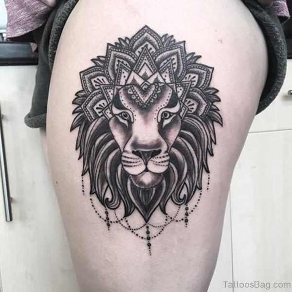 Grey Lion Tattoo