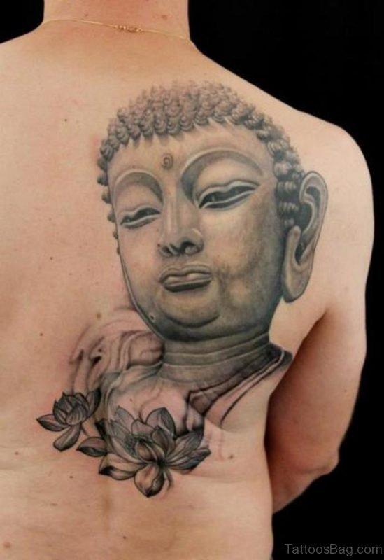 Grey Lotus And Buddha Tattoo