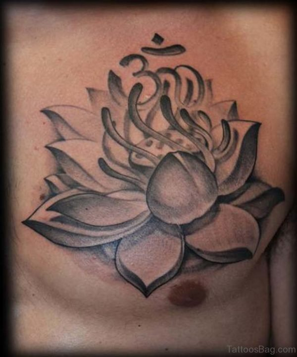 Grey Lotus Tattoo On Chest