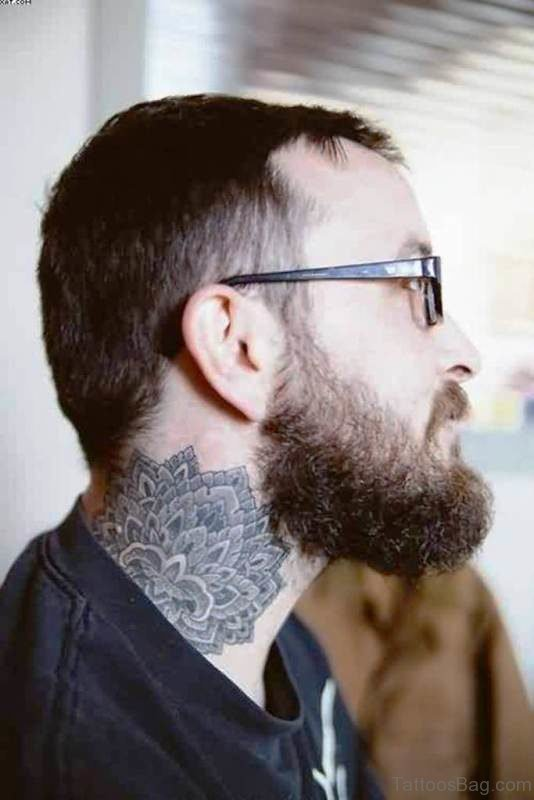 Grey Lotus Tattoo On Neck