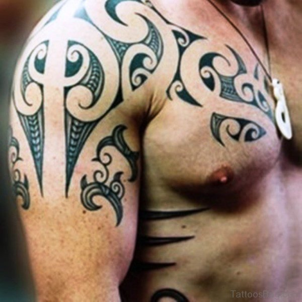 Grey Maori Tattoo On Right Shoulder