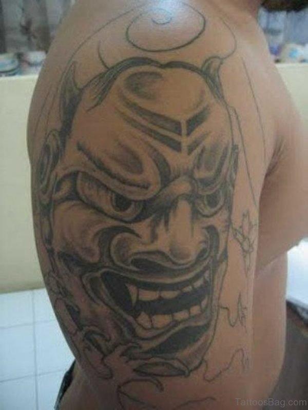 Grey Mask Tattoo Design