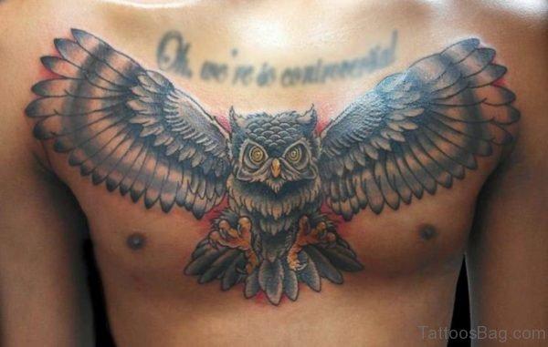 Grey Owl Tattoo On Chest