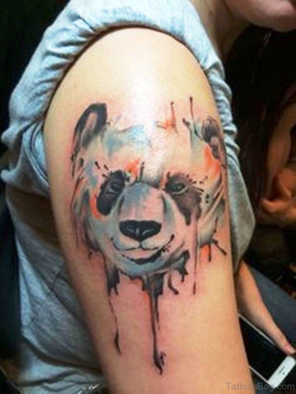 Grey Panda Shoulder Tattoo