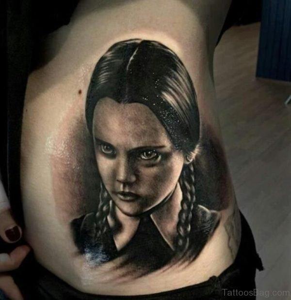 Grey Portrait Tattoo On Rib