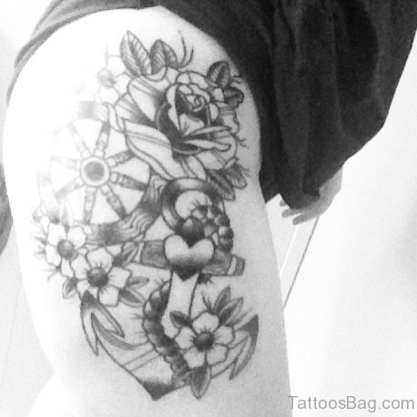 Grey Rose And Anchor Tattoo