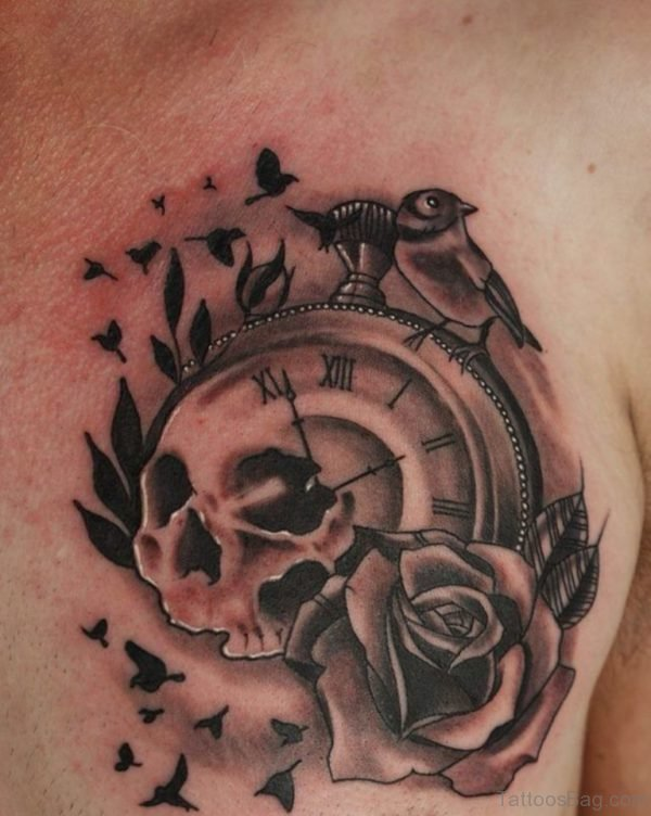 Grey Rose And Clock Tattoo
