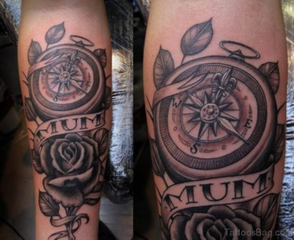 Grey Rose And Compass Tattoo On Leg