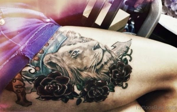 Grey Rose And Lion Tattoo