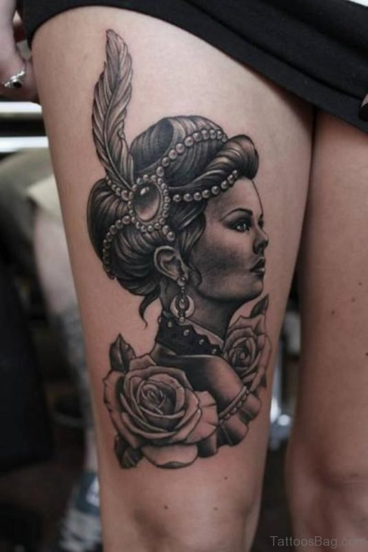 Grey Rose And Portrait Tattoo