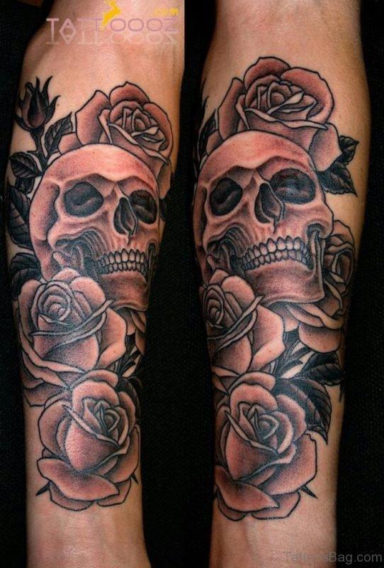 Grey Rose And Skull Tattoo