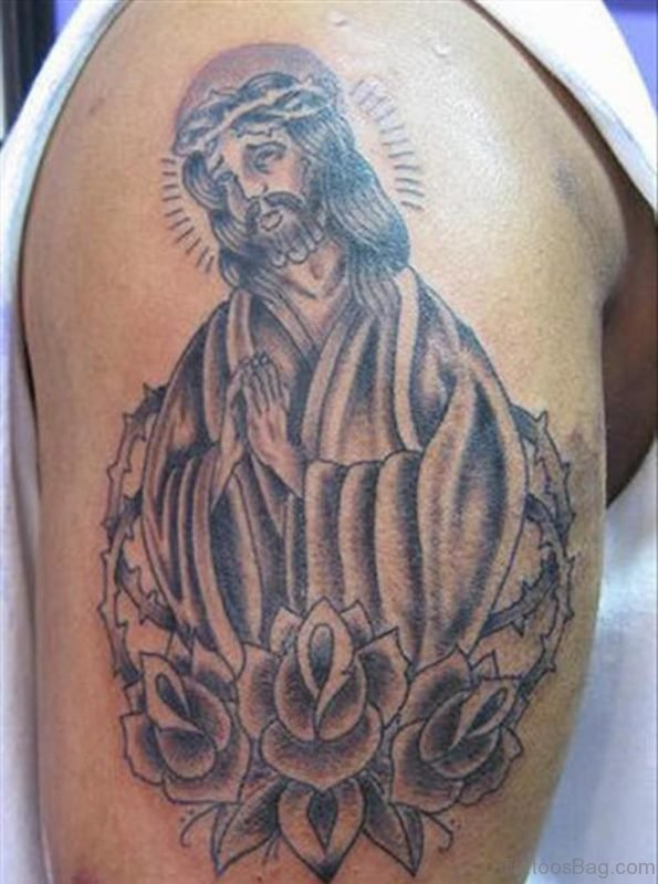 Grey Rose Flowers Jesus Christ Tattoo On Shoulder