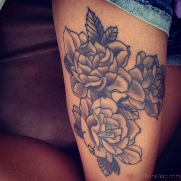 Grey Rose Flowers Tattoos On Thigh