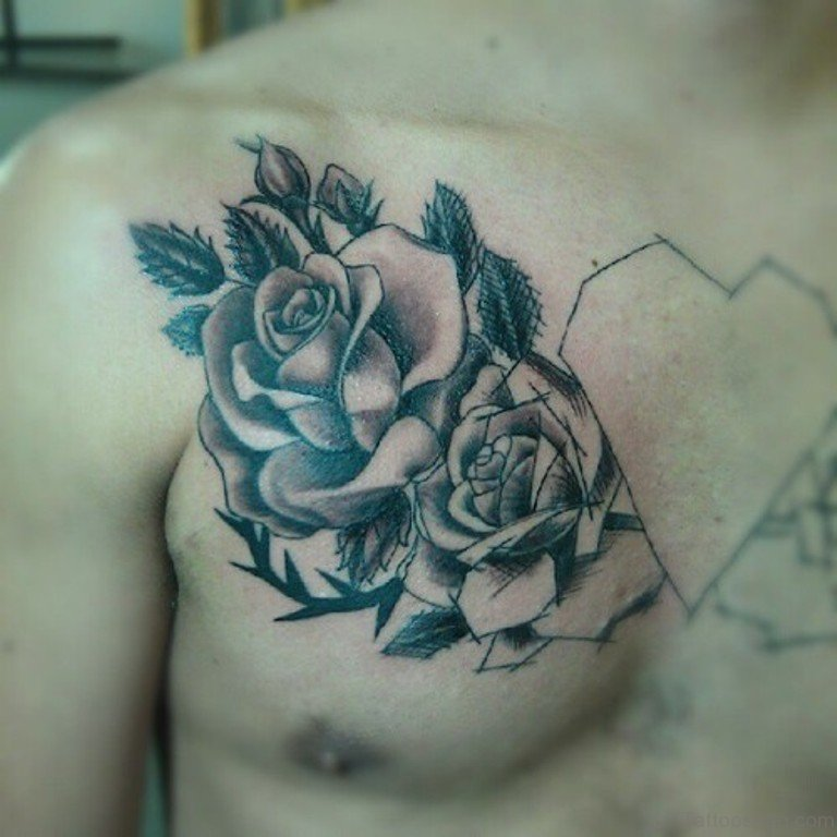 70 brilliant rose tattoos for chest grey rose tattoo on chest urmus Images