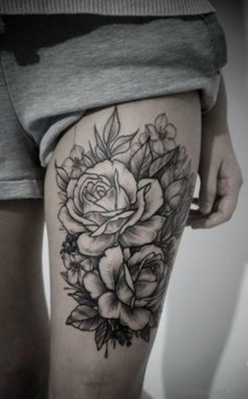 Grey Rose Tattoo On Thigh