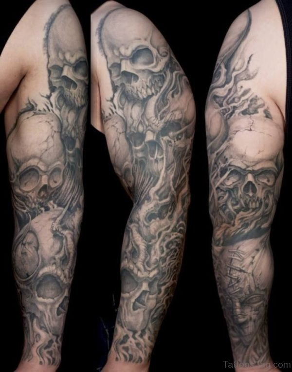 Grey Skull Tattoo On Full Sleeve