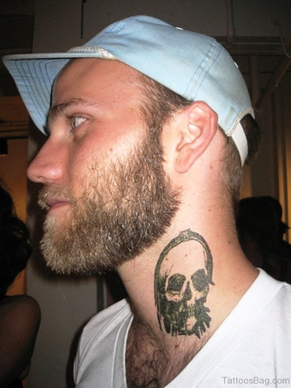 Grey Skull Tattoo On Neck