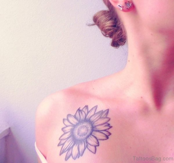 Grey Sunflower Tattoo