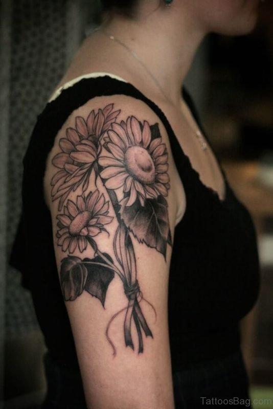 Grey Sunflower Tattoo On Shoulder