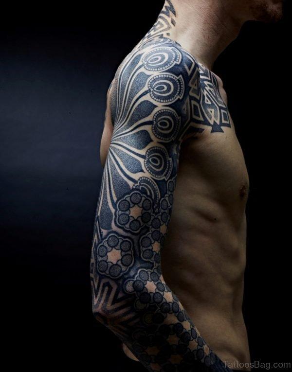 Grey Tribal Tattoo Design On Full Sleeve
