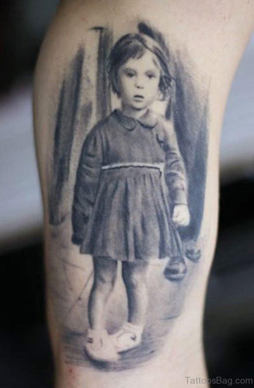 Grey girl portrait Tattoo