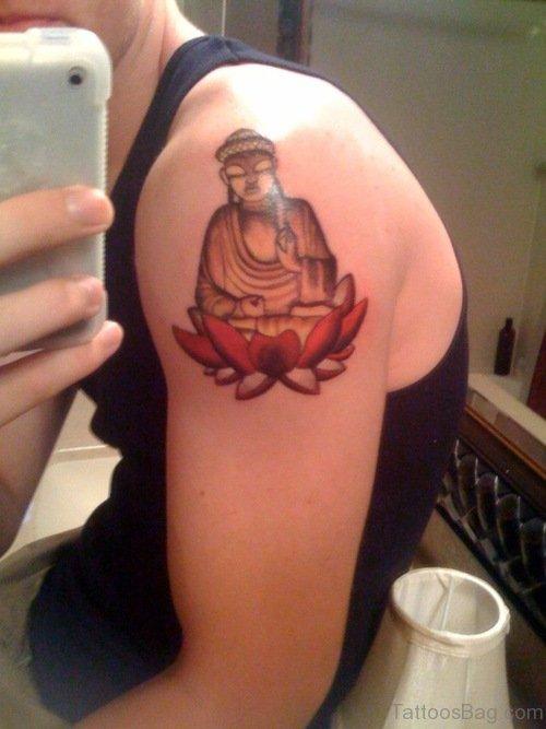 Groovy Buddha Tattoo On Shoulder