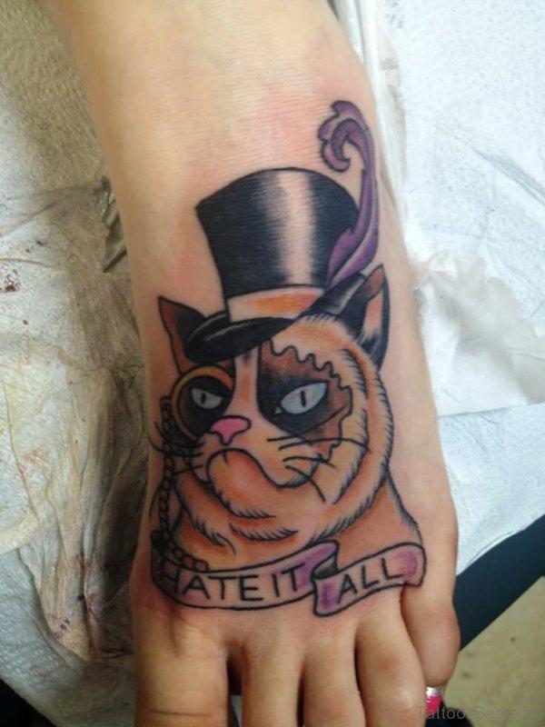 Grumpy Cat Tattoo Design On Foot meow836