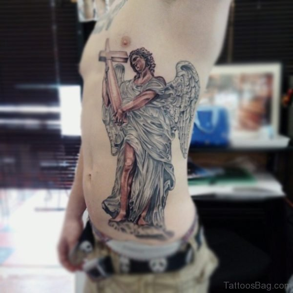 Guardian Angel Tattoo With Cros