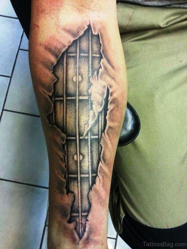 Guitar Fingerboard Tattoo On Forearm